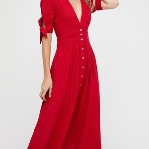 Free People Love of My Life midi dress small red